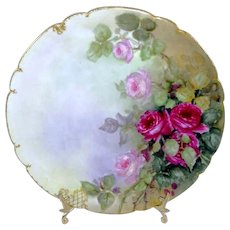 French Limoges Plate Hand Painted Pink Tea Roses Signed