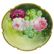 Antique French Limoges Plaque Hand Painted Roses Artist Signed