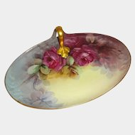Guerin Limoges France Tray Hand Painted Crimson Roses