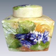 Antique French Limoges Lidded Tea Caddy Jar Hand Painted Violets
