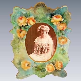 Antique French Limoges Frame Hand Painted Yellow Roses Artist Signed Dated 1910
