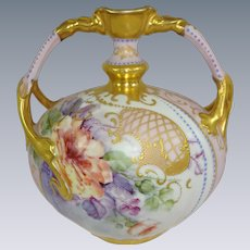 French Limoges Vase with Hand Painted Tea Roses