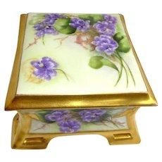 Antique Coiffe Limoges France Lidded Trinket Box Hand Painted Violets