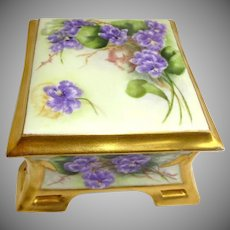 Antique Coiffe Limoges France Lidded Trinket Box Hand Painted Violets