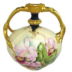 JPL Limoges France Jeweled Vase Hand Painted Orchids