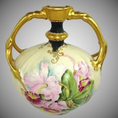 JPL Limoges France Jewelled Vase Hand Painted Orchids