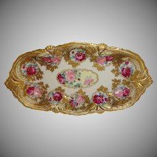 Large Antique Nippon Bowl Raised Gold Pink Tea Roses