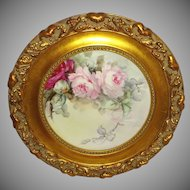 Bavaria - Framed - Hand Painted - Plate - Romantic Bouquets - Pink  Roses - Artist Signed