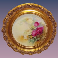 Framed French Limoges Plate Hand Painted Victorian Tea Roses