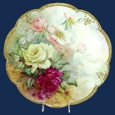 """Antique AK Limoges 14"""" Charger Hand Painted Roses"""