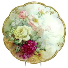 "Antique AK Limoges 14"" Charger Hand Painted Roses"