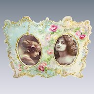 Antique Limoges Double Porcelain Frame Hand Painted Tea Roses