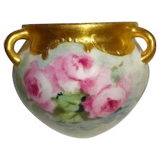 Hanging Jardiniere Vase with Hand Painted Pink Tea Roses