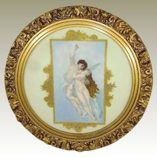Antique Limoges Charger Plate Plaque Hand Painted Cupid and Psyche Artist Signed