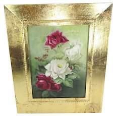 Antique French Limoges Framed Plaque Hand Painted Roses Signed
