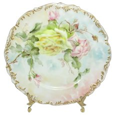 Antique French Antique Plate Hand Painted Tea Roses Signed