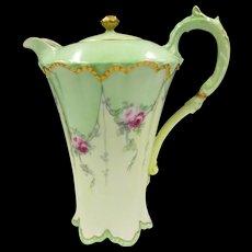 Haviland Limoges France Chocolate Pot Set Hand Painted Tea Roses