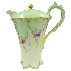 Haviland Limoges France Chocolate Pot Set Hand Painted Tea Roses