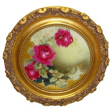 JPL Limoges France Plate Hand Painted Sweetheart Roses Vintage Heirloom