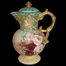 """""""Rare"""" Antique Austria Hand Painted Chocolate Pot with FACE ROSES and Amazing Gilded Art Work"""