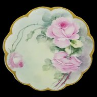 Haviland Limoges France Plate Hand Painted Tea Roses