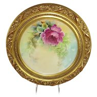 Framed Haviland Limoges Plate Hand Painted Artist Signed