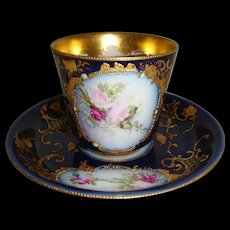 Guerin - Limoges - France - Hand Painted - Cobalt - Gold - Tea Roses - Jewels - Cup - Saucer - Artist Signed - Museum Quality - Turn-of-the-Century - Antique French Beauty - Only Fine Lines
