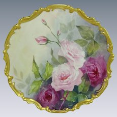 Antique French Limoges Plaque Hand Painted Pink Roses