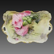Antique Haviland Limoges Tray Hand Painted Pink Roses Signed