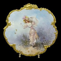 French Limoges Portrait Plaque Signed by Master Artist Dubois
