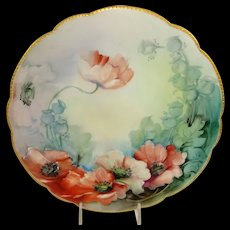 Antique Limoges France Plate Hand Painted Oriental Poppies