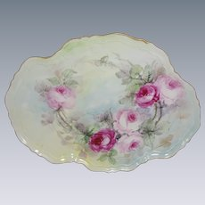 Antique Austria Tray Hand Painted Roses Artist Signed Dated June 1908
