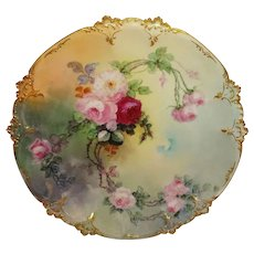 """Antique French Limoges 12"""" Charger Plate Hand Painted Pink Roses Artist Signed Dated 1901"""