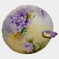 Antique French Limoges Nappy Dish Hand Painted African Violets