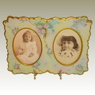 Guerin French Limoges Double Picture Frame Hand Painted Pink Roses