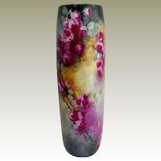 """Magnificent French Limoges 16"""" Vase Hand Painted Crimson Tea Roses"""