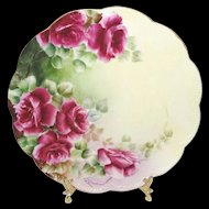 Haviland Limoges D'Arcy Plate Hand Painted Roses Artist Signed