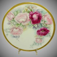 Antique Willets Belleek Plate Hand Painted Roses Signed Dated 1909