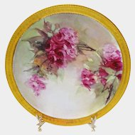 Haviland Limoges Plate Hand Painted Roses Signed by E. Wright