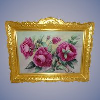 """13 1/2"""" Antique French Coiffe Limoges Hand Painted Plaque Pink Roses"""