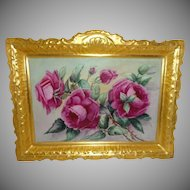 "13 1/2"" Antique French Coiffe Limoges Hand Painted Plaque Pink Roses"