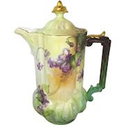 Antique Austria Chocolate Pot with Hand Painted Violets