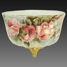 Antique French Limoges Ferner Jardiniere Vase Hand Painted Tea Roses