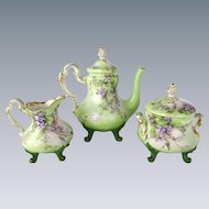 Antique French Limoges Tea Set with Hand Painted Purple Violets