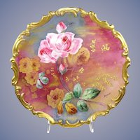 """French Limoges 13"""" Plaque Charger Plate Hand Painted Roses Signed"""