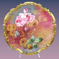 "French Limoges 13"" Plaque Charger Plate Hand Painted Roses Signed"