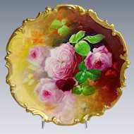 French Limoges Plaque Charger Hand Painted Roses Artist Signed