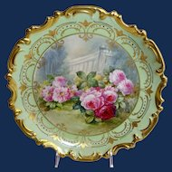 "French Limoges 13"" Charger Plaque Hand Painted Roses Signed"