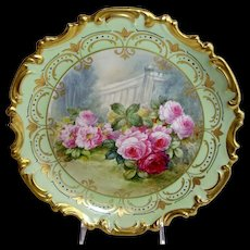 "French Limoges 13"" China Plaque Hand Painted Roses Signed"