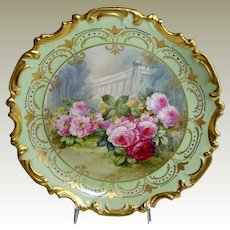 """French Limoges 13"""" Charger Plaque Hand Painted Roses Signed"""